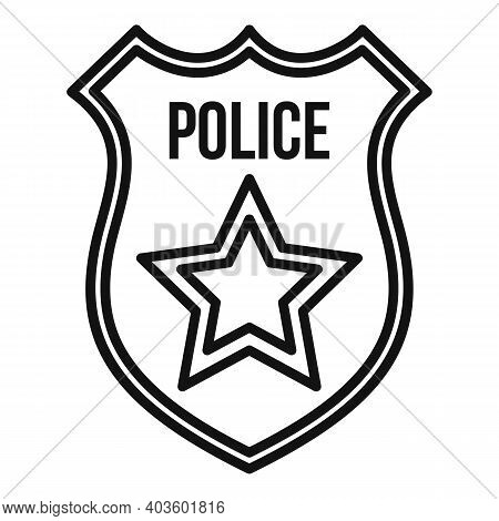 Police Gold Shield Icon. Outline Police Gold Shield Vector Icon For Web Design Isolated On White Bac