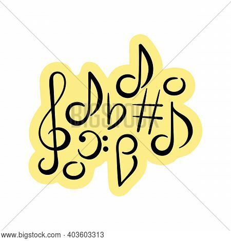 Music Concert Festival Doodle . Musical Notes, Treble Clef, Bass Clef. A Hand-drawn Composition . Ve