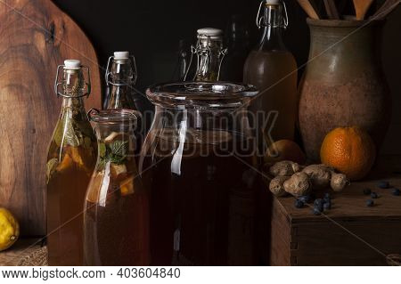 Kombucha (also Tea Mushroom, Tea Fungus, Or Manchurian Mushroom) - Second Fermented Fruit Tea With D