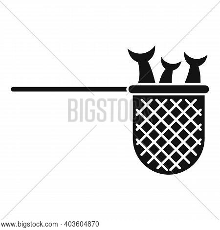 Fish In Catch Net Icon. Simple Illustration Of Fish In Catch Net Vector Icon For Web Design Isolated