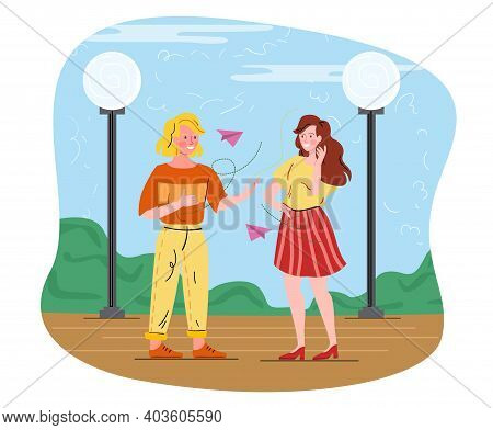 Deaf Male And Female Characters Talking To Each Other. Concept Of Hearing Disability. Deaf-mute Man