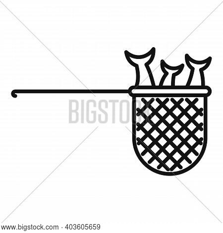 Fish Catch Net Icon. Outline Fish Catch Net Vector Icon For Web Design Isolated On White Background