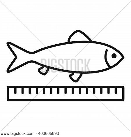 Farm Fish Length Icon. Outline Farm Fish Length Vector Icon For Web Design Isolated On White Backgro