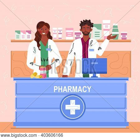 Male And Female Pharmacist Working At Drugstore And Greeting Customers. Pharmacists Are Ready To Giv