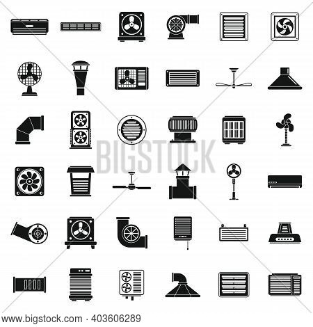 Ventilation Air Icons Set. Simple Set Of Ventilation Air Vector Icons For Web Design On White Backgr