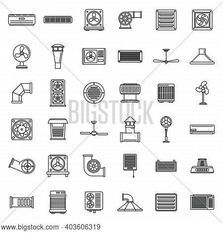 Ventilation Air Condition Icons Set. Outline Set Of Ventilation Air Condition Vector Icons For Web D