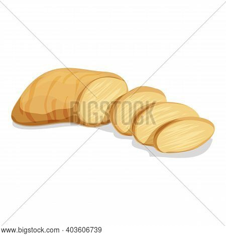 Sliced Ginger Icon. Cartoon Of Sliced Ginger Vector Icon For Web Design Isolated On White Background