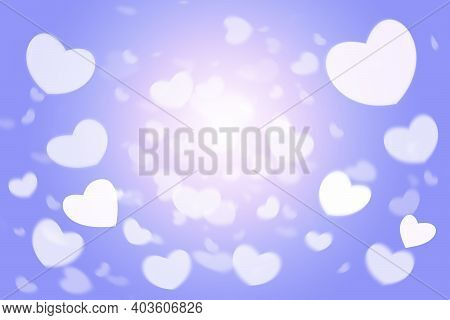 Valentine's Day Background With Hearts. Bokeh Effect On A Delicate Blue And Pink Background