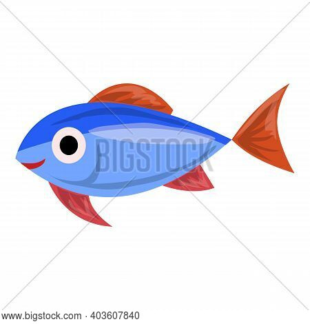 Exotic Blue Fish Icon. Cartoon Of Exotic Blue Fish Vector Icon For Web Design Isolated On White Back