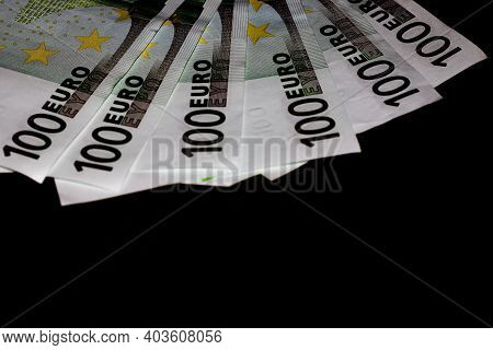 Close Up Photo Of Money, Banknotes. Finance And Currency Composition. Concept Of Rich People, Saving
