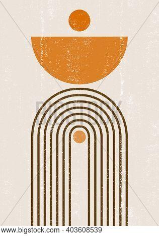 Burnt Orange Sun Print Boho Minimalist Printable Wall Art