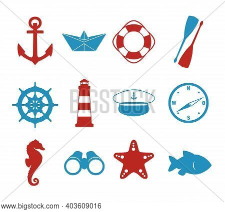 Vector Icons Collection Set With Maritime Silhouettes Of Paper Ship, Skipper Hat, Compass, Anchor, L
