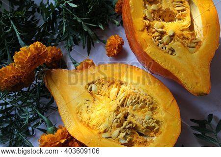 Orange Marigold, Orange Flower, Petals Of A Smelly Flowering Plant, Tagetes, Orange Pumpkin Cut In H