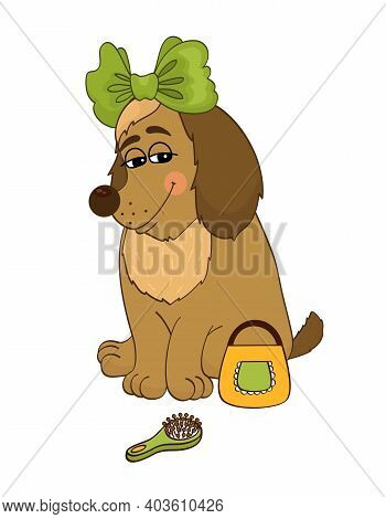 Cartoon Cute Lady Dog With Bow Bag And Brush Vector Illustration