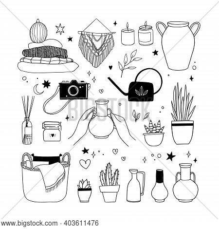 Hand Drawn Vector Linear Illustration - Set Of Home Decor: Plants, Sweaters, Blanket, Macrame, Candl
