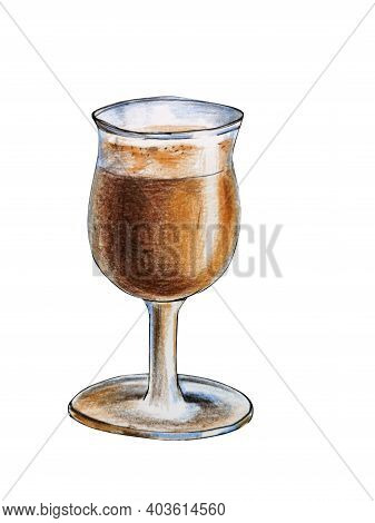 Glass Of Latte Macchiato Coffee With Whipped Cream. Hand Drawn With Watercolor Pencils. Engraving Il