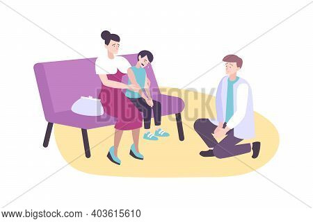 Parenting Concept With Mum And Dad Quieting Crying Son Flat Vector Illustration