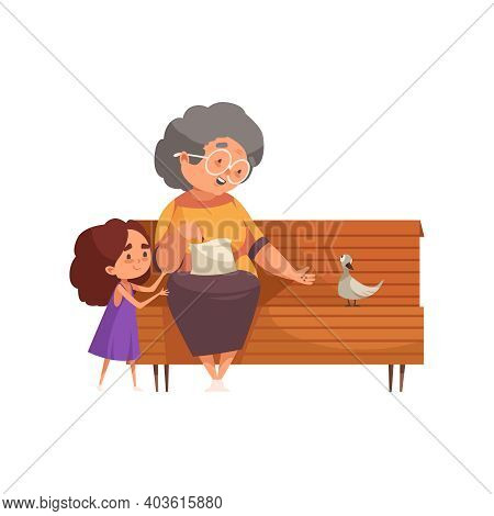 Smiling Grandma And Girl Feeding Pigeon On Bench Flat Vector Illustration