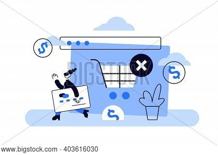 Abandoned Card Vector Illustration. Flat Tiny Cancel Purchase Persons Concept