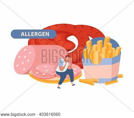 Gluten Intolerance Concept With Allergen Products Flat Vector Illustration