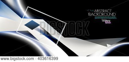 Dark Abstract Background, Hex Texture. White, Black Combination Light Line And Minimal Technology Sh