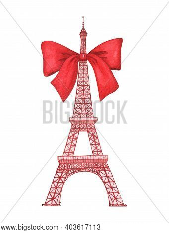 Eiffel Tower With Red Bow Isolated On White. Hand Drawn Watercolor Illustration.