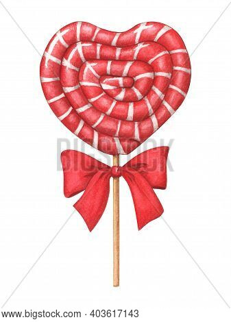 Red Heart-shaped Lollipop With Bow. Hand-drawn Watercolor Illustration