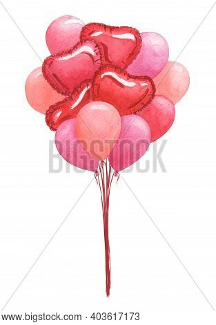 Bunch Of Festive Pink And Red Balloons. Hand Drawn Watercolor Illustration.