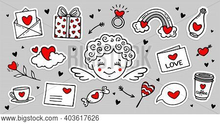 Cute Hand Drawn Set Of Love Doodles  Stickers With Cupid, Hearts, Love Letter, Flower Ets. Vector Il