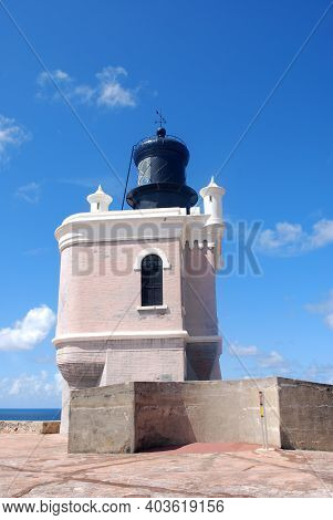 Beautiful Lighthouse At The Fort In Old San Juan Puerto Rico.