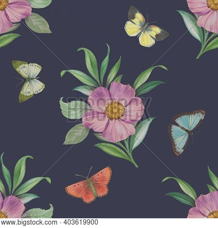 Flowers And Butterflies Seamless Pattern. Botanical Watercolor Pattern. Abstract Ornament Flowers, L