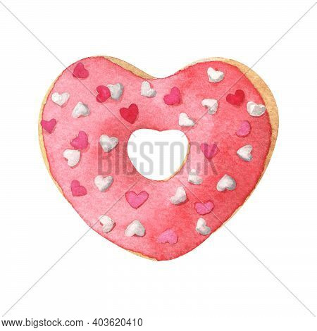 Heart Shaped Donut With Red Glaze. Hand-drawn Watercolor Illustration Isolated On White