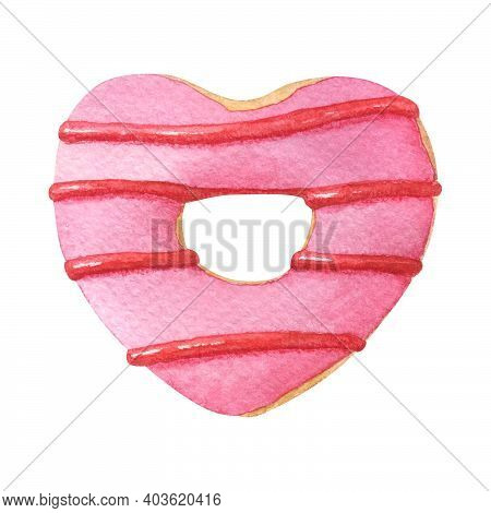 Heart Shaped Donut With Pink Glaze. Hand-drawn Watercolor Illustration Isolated On White