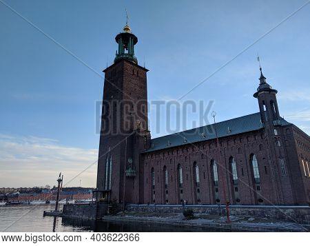 Stockholm, Sweden - April 19 2019: The View Of City Hall Or Stadshuset At Sunset Light On April 19 2