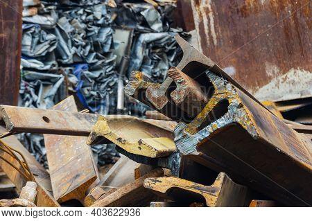 Scrap Yard, Metal Waste Disposal, Railway Rail.
