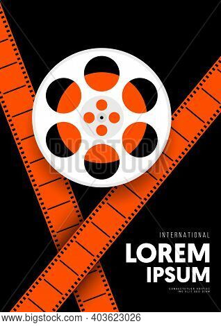 Movie And Film Poster Design Template Background With Vintage Retro Film Reel. Can Be Used For Backd