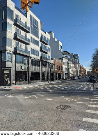 New York , Usa - October 20 2020: New Apartment Buildings And Starbucks In The City Of Brooklyn. Emp