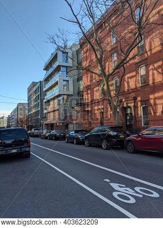 New York , Usa - October 20 2020: New Apartment Buildings In The City Of Brooklyn. Empty Street With