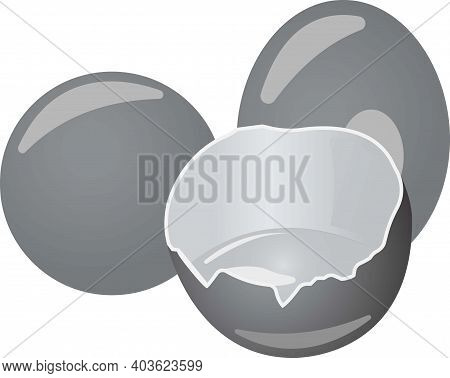Three Brown Eggs With Yolk. Grayscale Image Of Food.
