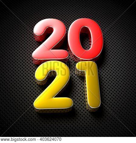 2021 Red Gold 3d Illustration On The Black Grid.