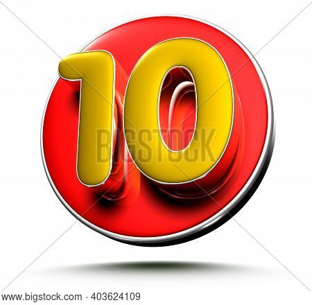 3d Illustration Gold Number 10 Isolated On A White Background With Clipping Path.