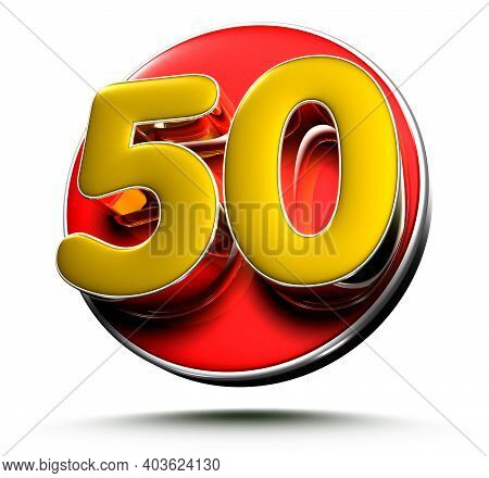 3d Illustration Gold Number 50 Isolated On A White Background With Clipping Path.