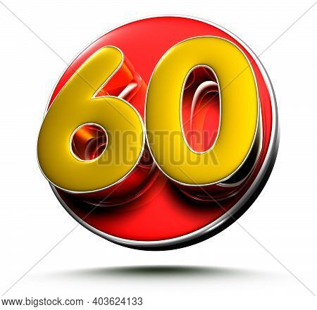 3d Illustration Gold Number 60 Isolated On A White Background With Clipping Path.