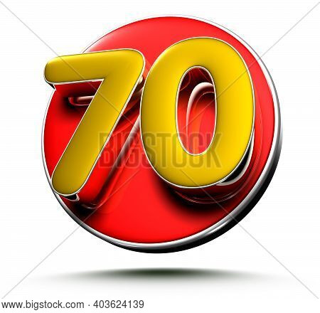 3d Illustration Gold Number 70 Isolated On A White Background With Clipping Path.