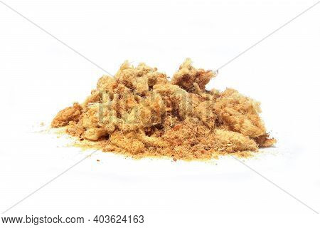 Dried Shredded Pork On White Background With Clipping Path.