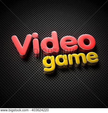 Video Game 3d Illustration On The Black Grid.