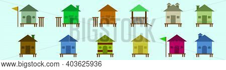Set Of Shacks Cartoon Icon Design Template With Various Models. Modern Vector Illustration Isolated