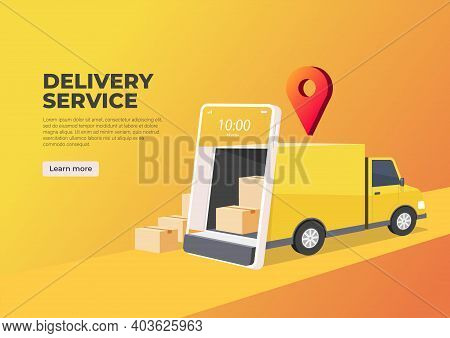 Delivery Truck Opens The Door From The Mobile Phone Screen. Online Delivery Service Banner. Smart Lo