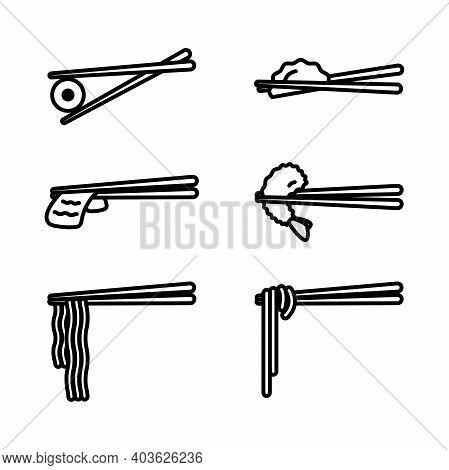 Chopsticks With Food Icon Set. Wooden Chopsticks With Sushi, Ramen, Noodle, Shrimp Tempura, Sliced B