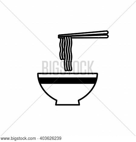 Ramen Noodle Soup Bowl With Chopsticks Icon. Bowl Of Ramen Noodle Icon.